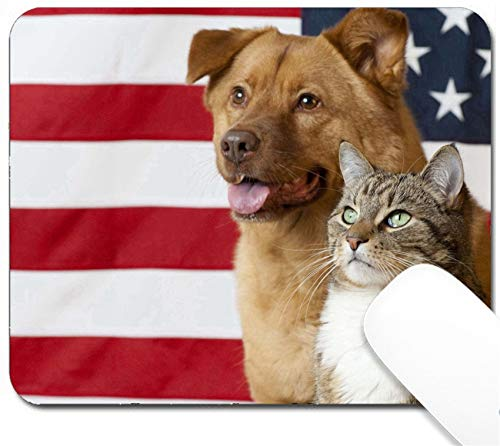 MSD Mouse Pad with Design - Non-Slip Gaming Mouse Pad - Image ID: 4904845 Proud American Pets with US Flag in as Background Focus on cat