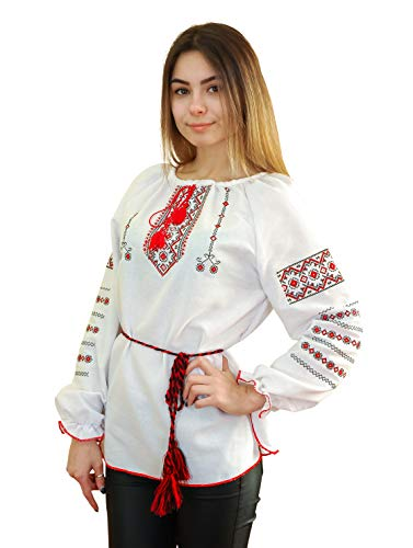 (Embroidered Ukrainian Folk Blouse Natural Cotton Traditional Ethnic Style, New White)
