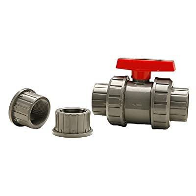 """1"""" PVC True Union Ball Valve (Gray Slip/Thread) from Red Flag Products"""