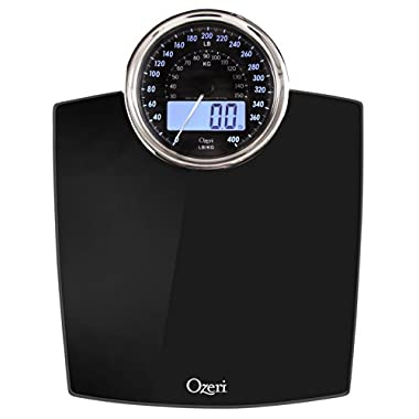 Ozeri ZB19 Rev Digital Bathroom Scale with Electro-Mechanical Weight Dial, Black