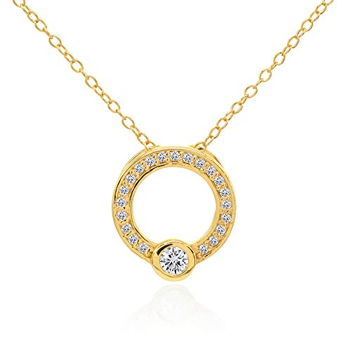 Yellow Gold Flashed Sterling Silver Open Circle Bezel Set Cubic Zirconia Slide Necklace