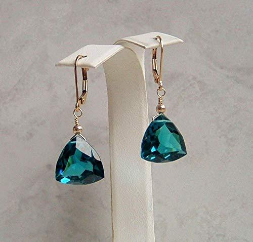 Teal Quartz Trillion Cut Faux London Blue Topaz Triangle Briolette December Birthstone Gold Filled Leverback Earrings Gift Idea Blue Topaz Geometric Earrings