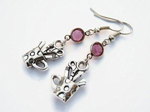 Pen Cup Birthstone Earrings, Personalized Teacher Earrings, Secretary Jewelry, Receptionist Gift