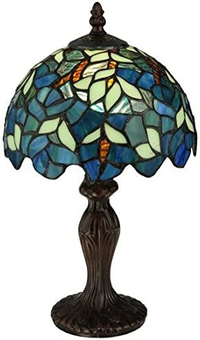 Tiffany Lamps W12H22 Inch 3 Light Pull Chain Sea Blue Stained Glass Dragonfly Style Lampshade Beside Desk Table Night Light Antique Base for Living Room Coffee Table Bedroom S147 WERFACTORY