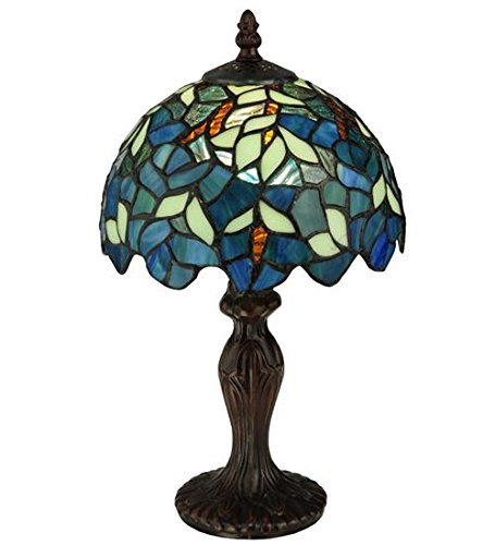 Meyda Tiffany 124812 Nightfall Wisteria Mini Table Lamp, 14