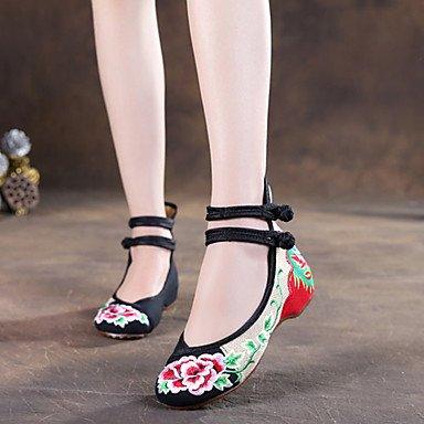 al de talón verano comodidad flor soporte elegante de Cómodo soporte Espadrilles libre aire hebilla primavera rojo Walking tela verde negro invierno otoño de y las pisos mujeres Casual verde zapatos 1BqSOaS