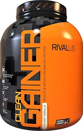 Rivalus Clean Gainer – Smooth Vanilla 5 Pound   – Delicious Lean Mass Gainer with Premium Dairy Proteins, Complex Carbohydrates, and Quality Lipids, No Banned Substances, Made in USA