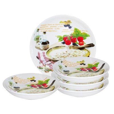 Lorren Home Trends PS1 5 Piece Porcelain Pasta Set Mamma Mia Design, Multicolor