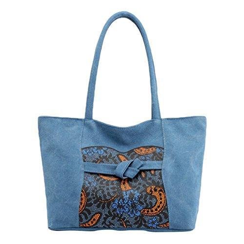 ZKOOO Lona Bolsos de Mujer Hobos Bolso de Mano Étnico Imprimir Bolsa de Hombro Grande Capacidad Shoppers Bolsa de Playa Bolsa de Ocio Gris Azul