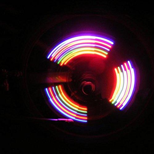 1X 2 piezas Colores del neum/ático de la rueda linterna LED v/álvula elegante decoraci/ón del casquillo de la bicicleta