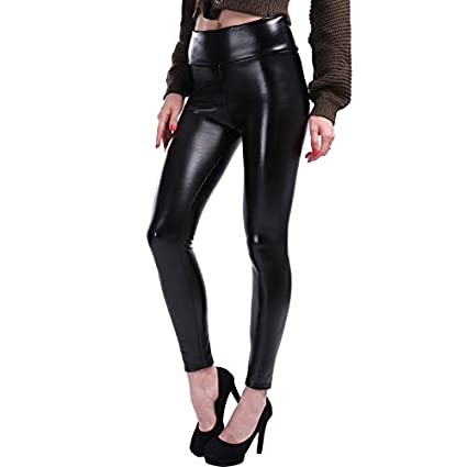 062c8ebb300e7 Amazon.com: Blue Stones Plus Size Leather Leggings Women High Waist ...