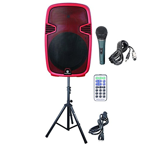 PRORECK PR-C15 Portable 15-inch 600 Watt 2-way Powered Dj/PA Speaker with Bluetooth/USB/SD Card Reader/ FM Radio/Remote Control/LED Light/Speaker Stand,Wired Microphone, Red by PRORECK