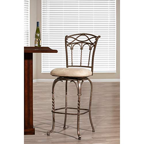 Hillsdale Furniture Kendall Bar Stool with Memory Swivel - Fawn Faux Suede Pewter with Antique - Bar Suede Bronze Stool