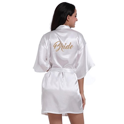 cb5502e731 HARRYSTORE Women Girl s Kimono Robes Satin Nightdress Pure Colour Short  Style With Oblique V-Neck Half Sleeves Bride Gown Sleepwear - Buy Online in  Oman.