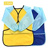 Kids Art Smocks Children Waterproof Play Apron Artist Painting Smocks Long Sleeve with 3 Roomy Pockets,Feeding Apron for Toddler 3-8 Years-Blue+Yellow