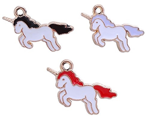 (Unicorn Charm Pendants 60 Pack, Gold Tone with Enamel, 7/8 Inch Long - Black Purple Red)