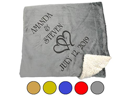 Custom Catch Personalized Unique Wedding Couple Gifts - Anniversary, Engagement Gift Blanket (Hearts)