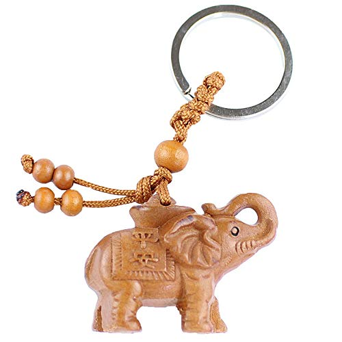 Axmerdal My Lucky Feng Shui Wooden Elephant Amulet Keychain Keyring Door Car Key Chains Rings ()
