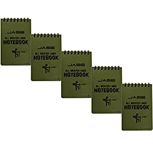 Cosmos ? Set of 5 Green Waterproof/All Weather/Shower/Aqua Notes/Notepad/Notebook