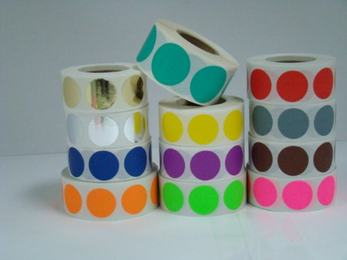 Amazon.com : 12 rolls of 500 labels each color of 3/4 inch Round ...