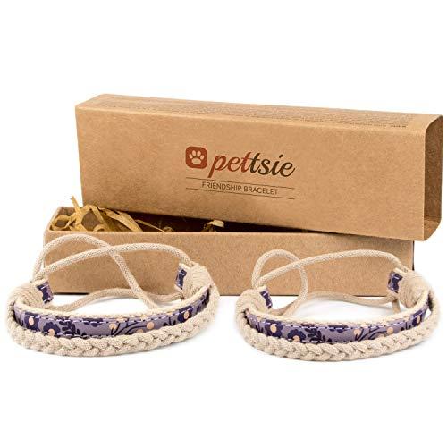 Pettsie Matching Friendship Bracelets, 2 Pack Set, Easy Adjustable, 100% Cotton and Hemp (Purple)