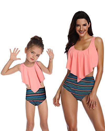 BBYES Mother Daughter Baby Girls Swimsuits Matching Cute 2pcs Matching Swimwear High Waist Bikini Sets(Orange,Daughter-6/8T)]()