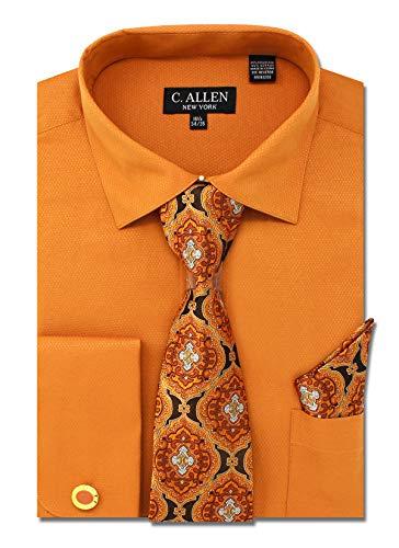 C. Allen Men's Solid Micro Pattern Regular Fit Dress Shirts with Tie Hanky Cufflinks Combo ()