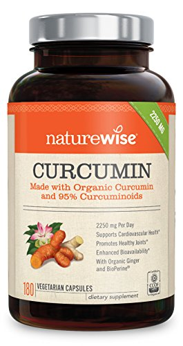 NatureWise Organic Curcumin Turmeric with 95% Curcuminoids 2250mg Max Serving Per Day From Three 750mg Capsules High Absorption BioPerine Black Pepper for Inflammation amp Joint Support 180 Caps