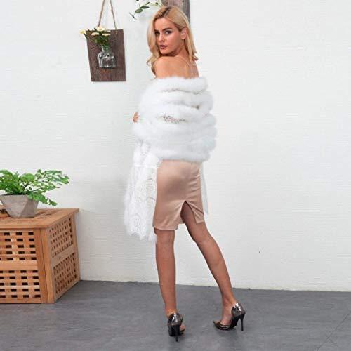 Estilo Sólido Battercake Invierno Sin Chal Blanco Mujer Color Elegante De Moderno Piel Party Casuales Mullido Caliente Mujeres Mangas Estolas qSanxq8