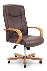 Eliza Tinsley - Silla de oficina (piel, base y brazos de imitación madera de roble, eje de cromo, respaldo alto), color marrón