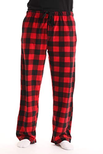 #FollowMe 45902-1A-L Polar Fleece Pajama Pants for Men/Sleepwear/PJs, Red Buffalo Plaid, Large (Pajama Flannel Checked Pants)