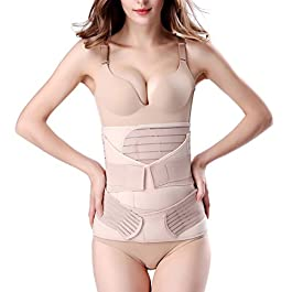 3 in 1 Postpartum Support – Recovery Belly/waist/pelvis Belt Shapewear Slimming Girdle, Beige, One Size