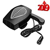 Portable Car Heater, Fast Heating Defrost Defogger Space Automobile Windscreen Heater, Heat Cooling Fan Ceramic Heater 3-Outlet Plug Adjustable Thermostat in Cigarette Lighter(Black)