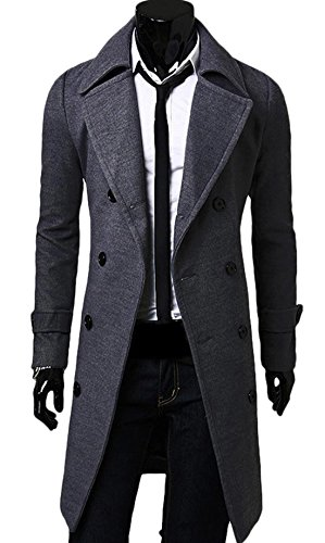Chouyatou Mens Stand Collar Slim Fit Wool Blend Long Business Coat (Large, QM-Gray)