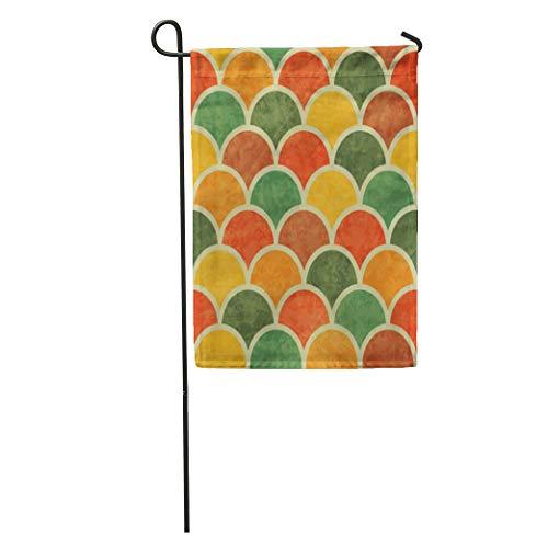 Semtomn Garden Flag Orange Pattern Vintage Japan Wave Green Retro Sea Graphic Swirl Home Yard House Decor Barnner Outdoor Stand 12x18 Inches Flag