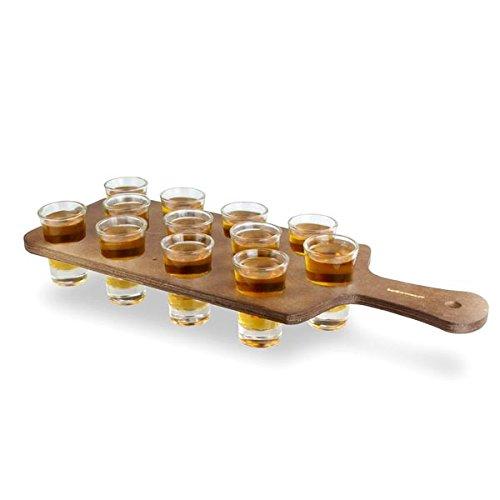 bar@drinkstuff Pine Shot Paddle Board with 12 City Shot Glasses - Drinks Paddle with Shot Glasses