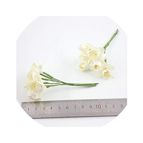 winkstores 6 Pieces of Mulberry Paper Plum Wedding Bouquet/Dry Yarn/Scrapbook Sunflower Flower Fake Flower,Milk White
