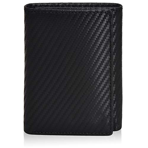 Leather wallets for men- Travel wallet slim wallet mens leather wallet with rfid blocking card wallet (3.5x4.4x0.75, 01 Black Carbon Fibre/Nappa Leather)
