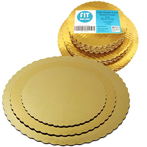 8 10 12 Inches Round Tierd Cake Boards Combo - Cardboard Disposable Layered Cake Pizza Circle Scalloped Gold Stackable Tart Decorating Base Stand - 30 -