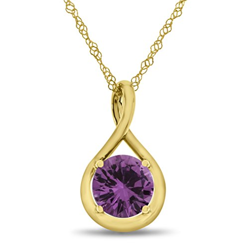 7mm Round Created Pink Sapphire Twist Pendant Necklace Chain Included 10 kt Yellow Gold (Pink Sapphire Yellow Necklace)