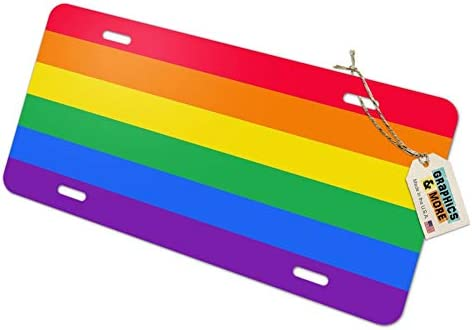 Rainbow Pride Gay Lesbian Contemporary Novelty Metal Vanity Tag License Plate