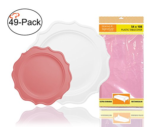 Tiger Chef 49-Pack Pink and White Color Heavy Duty Scalloped Rim Disposable Party Supplies Set for 24, includes 24 10-Inch Dinner Plates, 24 8-Inch Hard Plastic Plates and 1 Tablecloth - BPA-Free Baby Solid Color Tableware