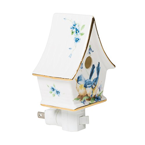 - Floral Mini Birdhouse 3 x 5 Porcelain Wall Plug-In Night Light