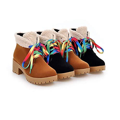 Para Tacones Invierno Botas Phy Cremallera 黑色 Botines Con Shoe Cierre De Mujer Otoño Gran Gruesos Tamaño E 7wHxH50t