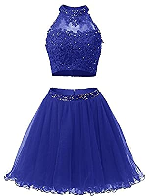 EverLove Short Applique Prom Gowns Beaded Two Pieces Homecoming Dresses EL0044