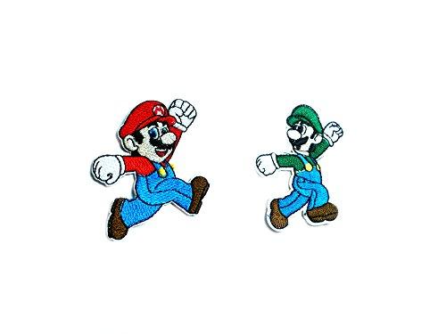 Super Mario & Luigi 2-Pack Embroidered Iron/Sew-on Gaming Cartoon Theme Logo Patch/Applique By Superheroes (Mens Super Mario Luigi Hoodie)