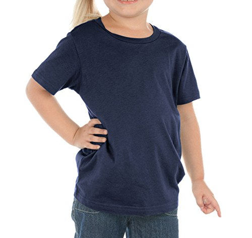 - Kavio! Toddlers Crew Neck Short Sleeve Cotton/Poly Tee Navy 4T