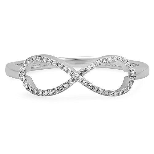 0.10 Carat (ctw) 14K Gold Round White Diamond Ladies Swirl Infinity Love Promise Ring 1/10 CT
