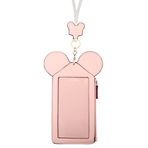 Neck Pouch, Charminer Women Cute Animal Shape Lanyard Phone Purse Neck Bag Travel Documents, Card Holder Coin Purse Neck Bag for 4.7/5.5in Phones Light Pink 5.5in