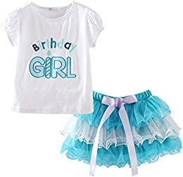 Little Girls Cotton Birthday Girl T-Shirt and Tutu Skirt Outfit Summer Clothes